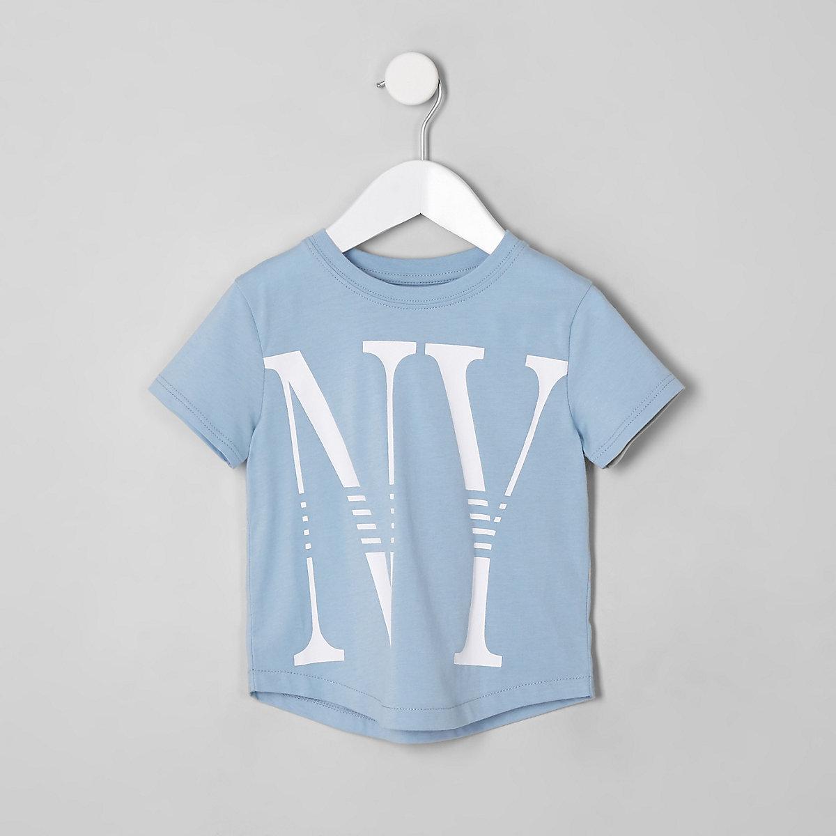 Mini boys light blue 'NY' T-shirt