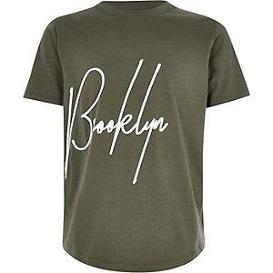 Kaki T-shirt met 'Brooklyn'-print voor jongens