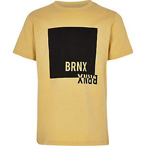 Geel T-shirt met 'no bad vibes'-print voor jongens