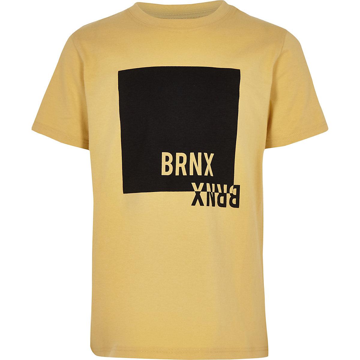 Boys yellow 'no bad vibes' T-shirt