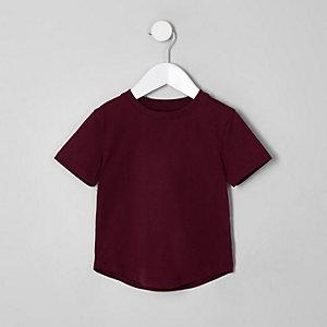 T-Shirt in Bordeaux mit Rundhalsausschnitt