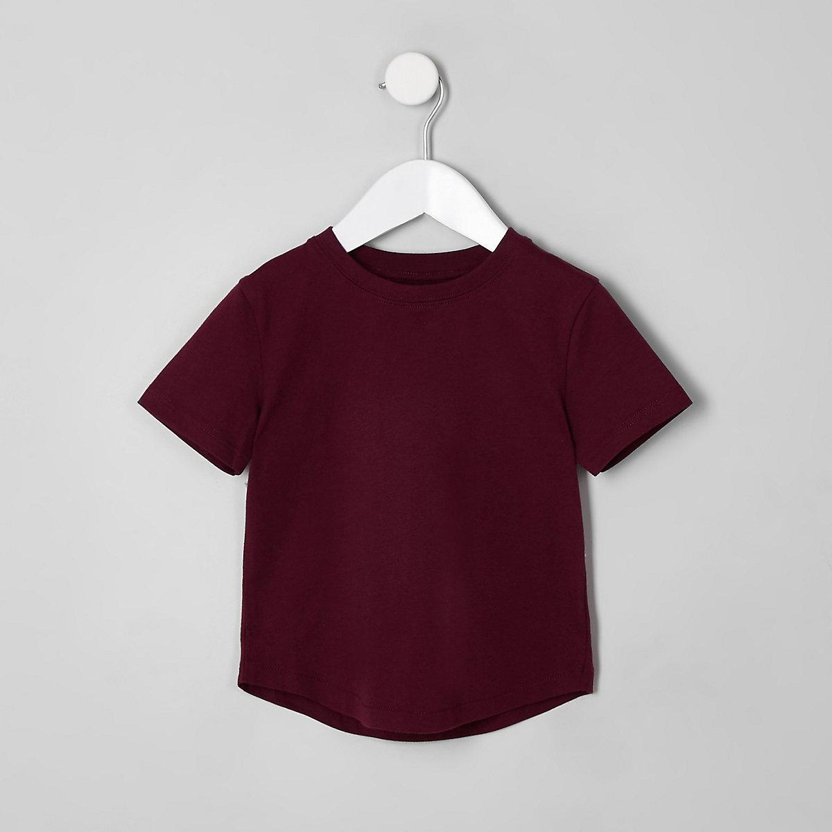 Mini boys burgundy crew neck T-shirt