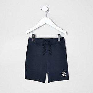 Mini - Marineblauwe short met 'dude'-print voor jongens