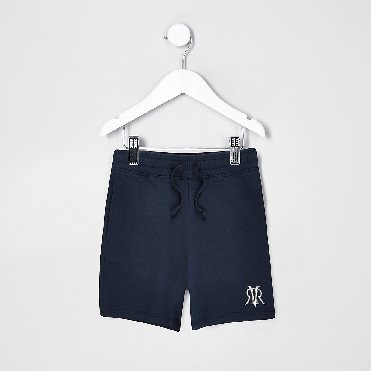 Mini boys navy 'dude' print shorts