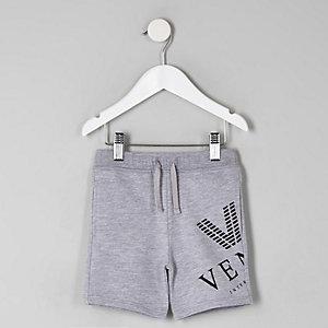 Mini boys grey marl 'venti' print shorts