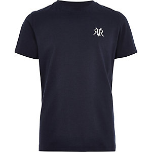 Marineblaues T-Shirt mit Stickerei