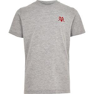 Grau meliertes T-Shirt mit Stickerei