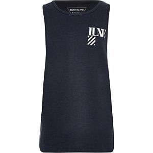 Marineblauw hemdje met Luxe-print voor jongens