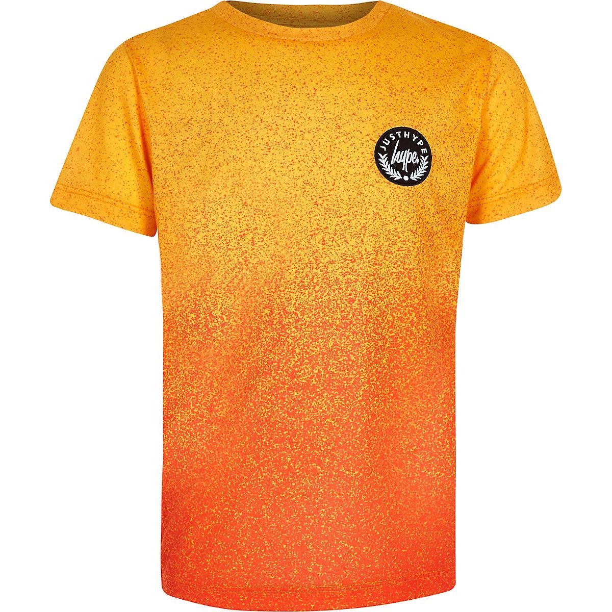 Boys orange Hype speckle print T-shirt