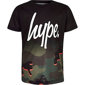 Hype – Schwarzes T-Shirt mit Camouflage-Muster