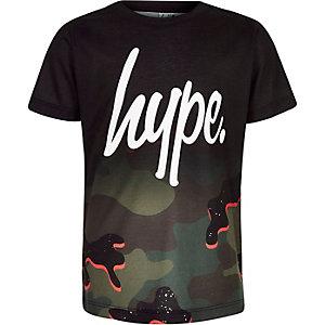 Hype - Zwart T-shirt met camouflageprint voor jongens