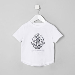 Mini boys white 'handsome prince' T-shirt