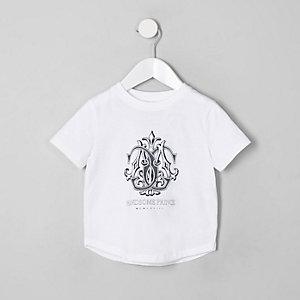 Mini - Wit T-shirt met 'handsome prince'-print voor jongens