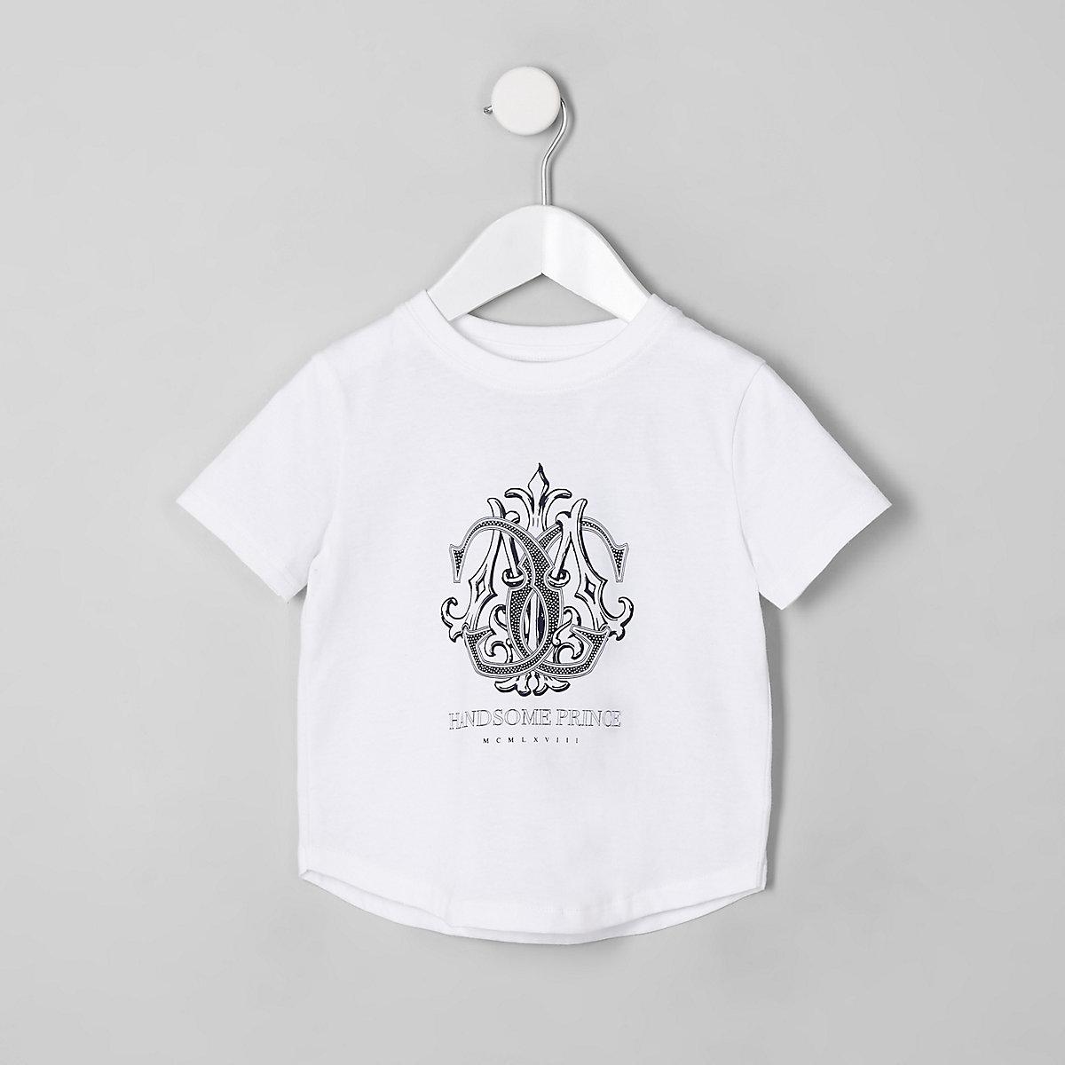 Mini boys white 'handsome prince' T-shirt