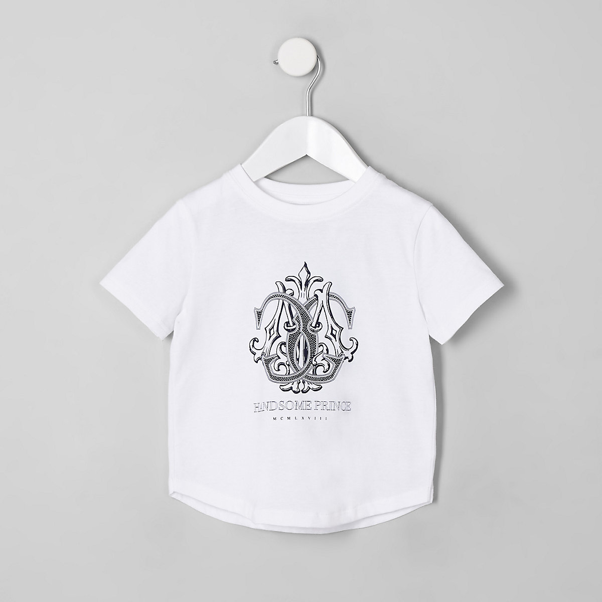 T-shirt « Handsome prince » blanc mini garçon