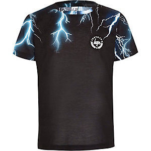 Boys Hype black lightening print T-shirt