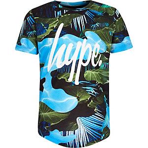 Hype – T-shirt à imprimé feuilles bleu pour garçon