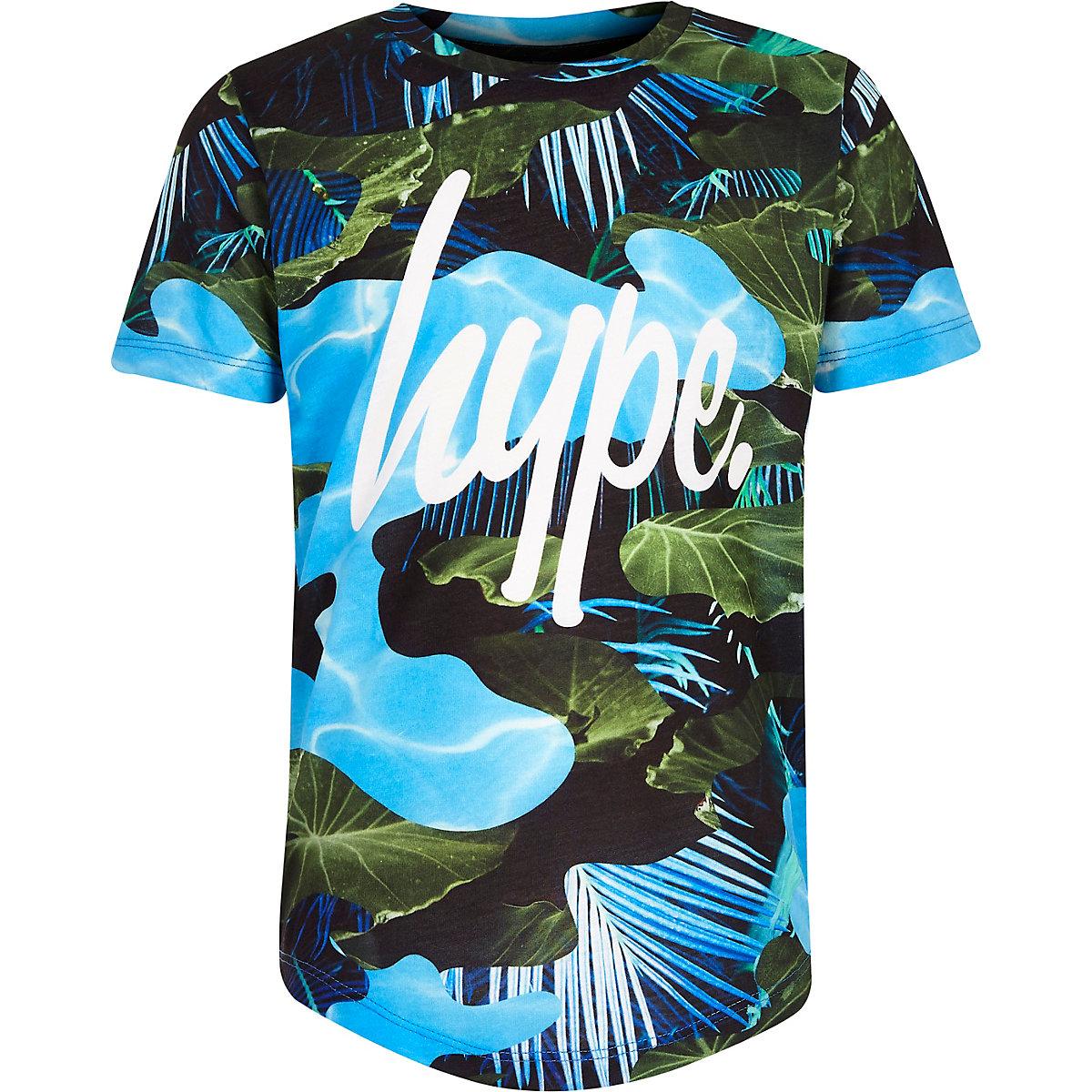 Boys blue Hype leaf print T-shirt