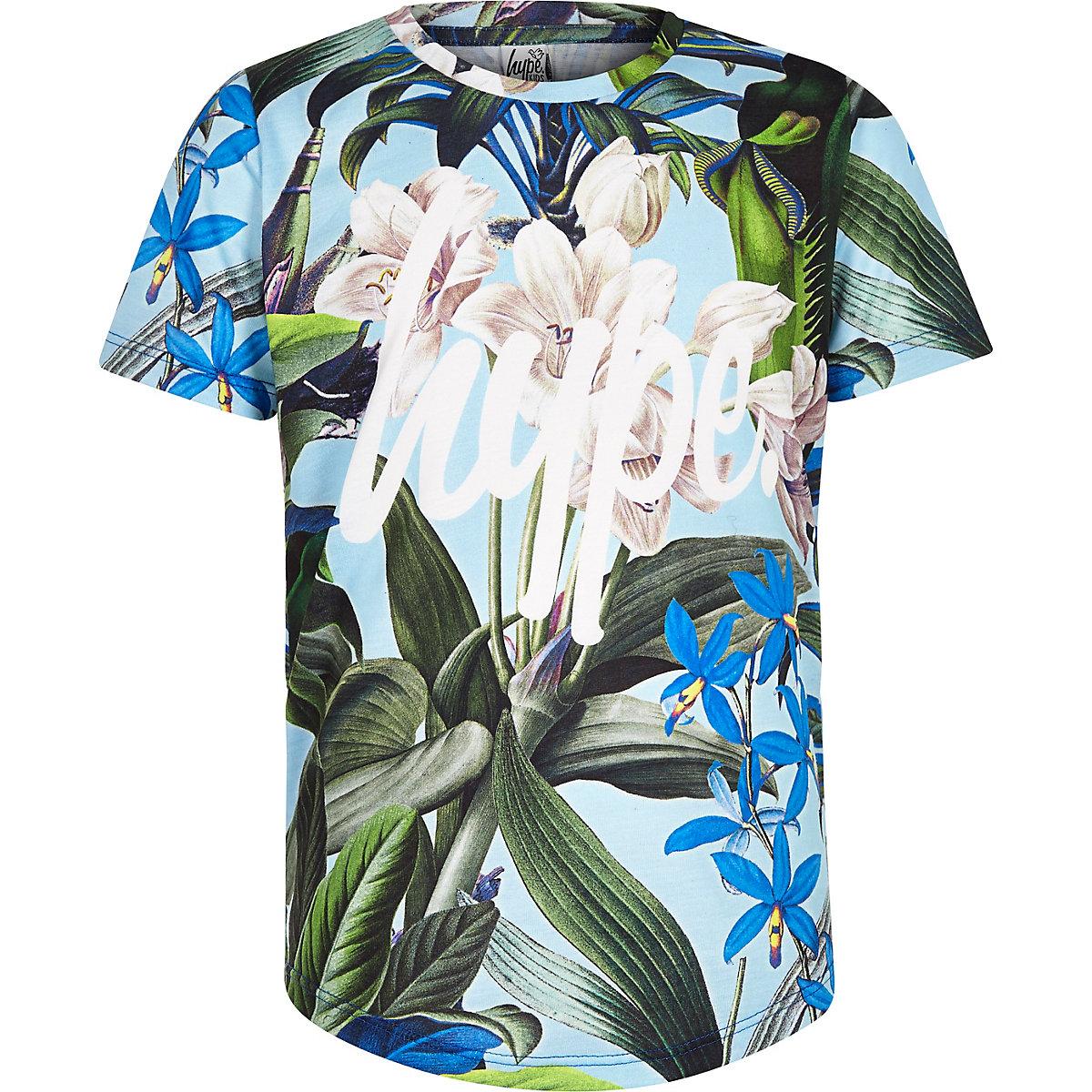 Boys blue Hype tropical print T-shirt