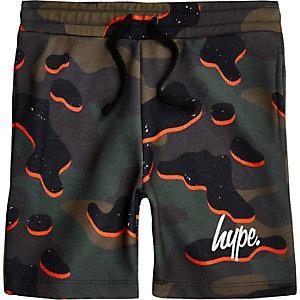 Hype - Oranje short met camouflageprint voor jongens