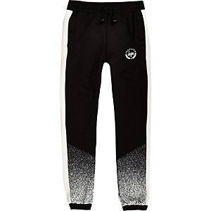Boys black Hype speckle fade joggers