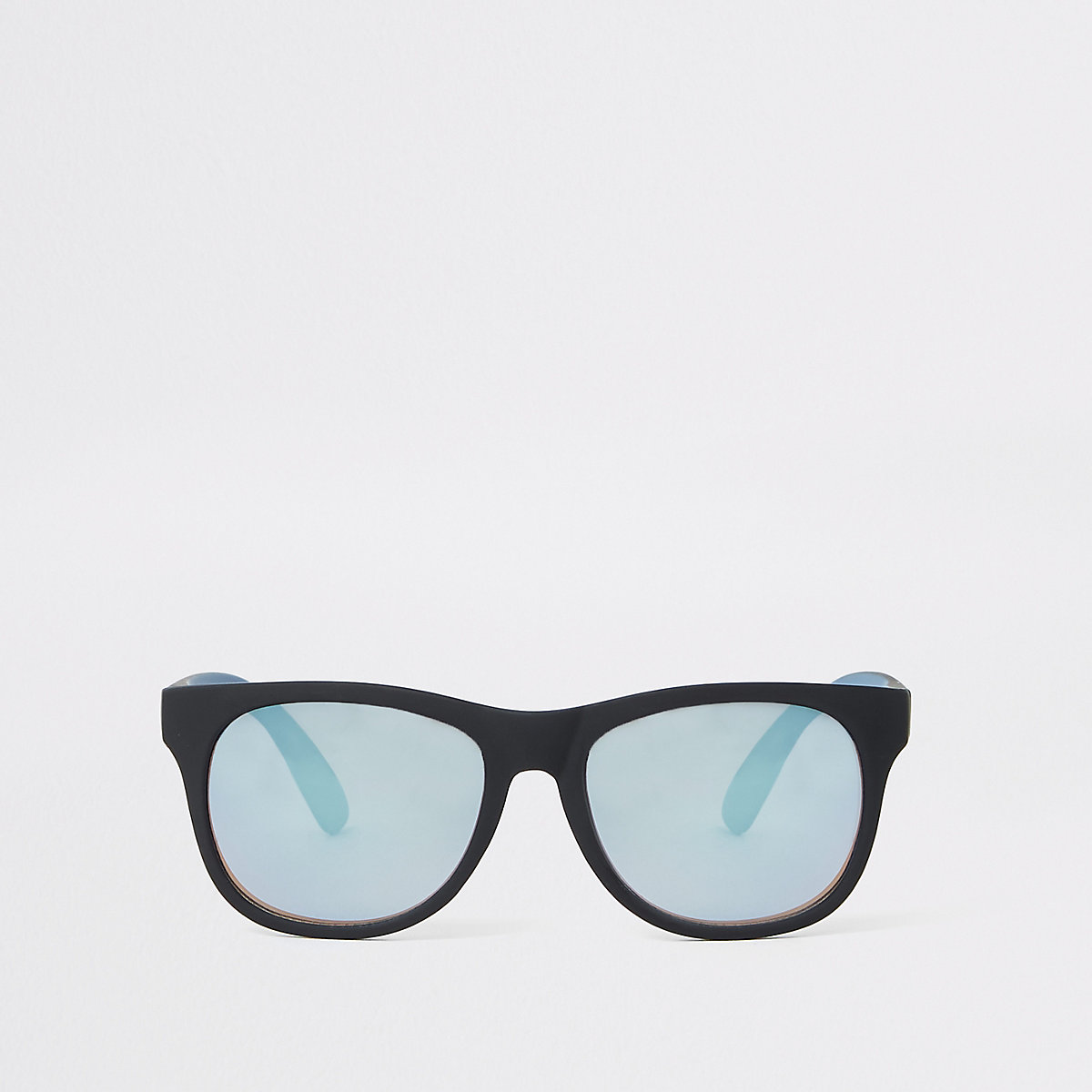 Boys black retro blue lens sunglasses