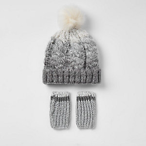 Mini boys grey ombre knit hat set