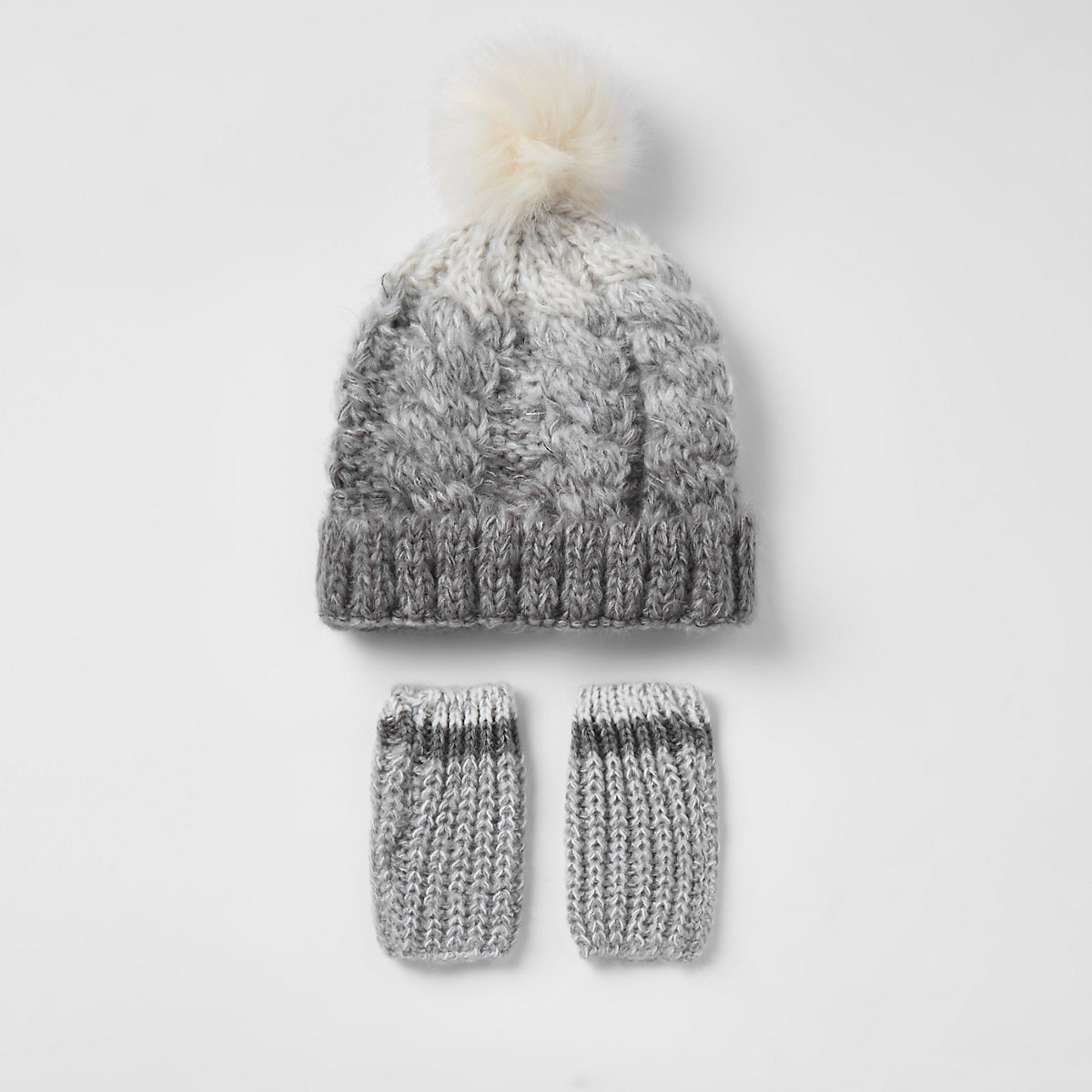Mini boys grey ombre faux fur knit hat set