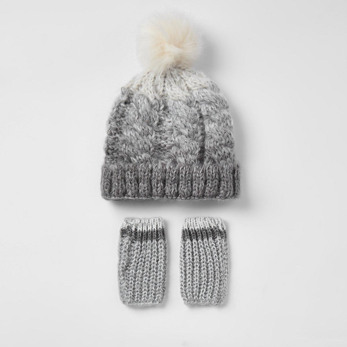 Mini boys grey ombre faux fur knit hat set