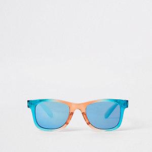 Mini - Retrozonnebril met regenboogprint en blauwe glazen voor jongens