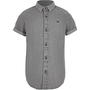 Grijs geborduurd denim overhemd met wespenprint voor jongens