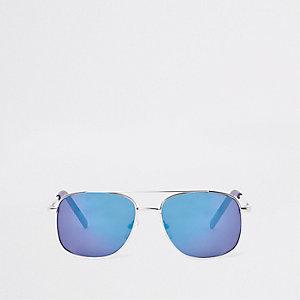 Zilverkleurige zonnebril met blauwe glazen voor jongens