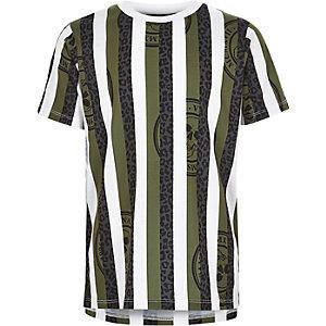 Wit met kaki gestreept T-shirt met luipaardprint voor jongens