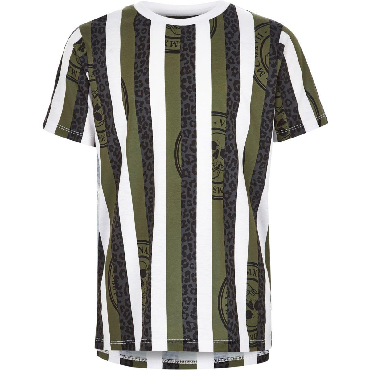 Boys white khaki stripe leopard print T-shirt