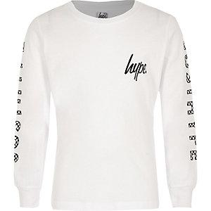 Hype – Sweat blanc avec bandes latérales à imprimé damier pour garçon