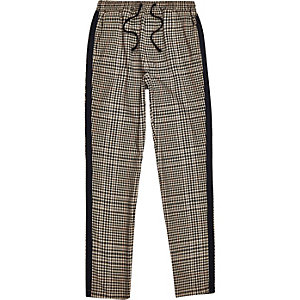 Boys brown check tape side pants