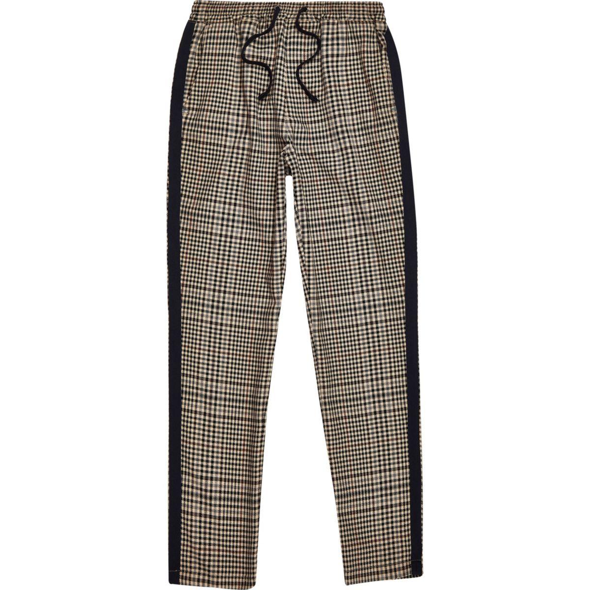 Boys brown check tape side pants