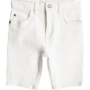 Boys white Sid skinny denim shorts