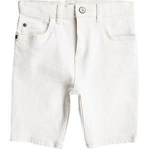 Sid - Witte skinny denim short voor jongens