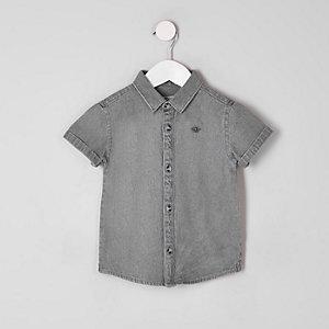 Mini - Grijs denim overhemd met geborduurde wesp voor jongens