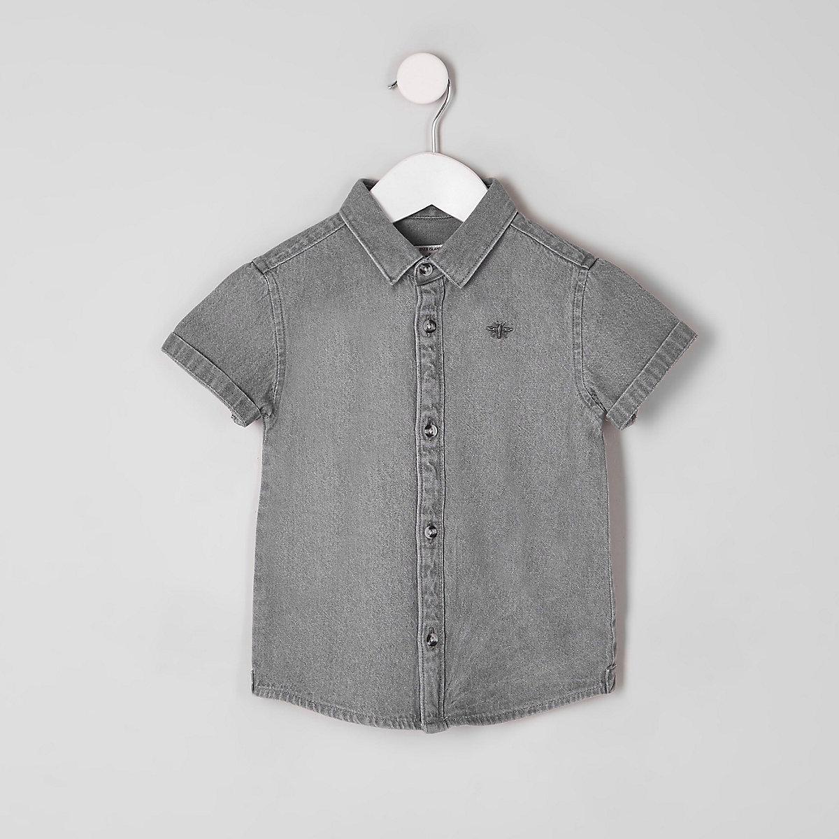 Mini boys grey wasp embroidered denim shirt