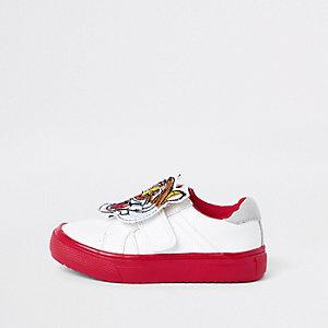 Mini - Witte sneakers met tijgerprint en klittenband voor jongens