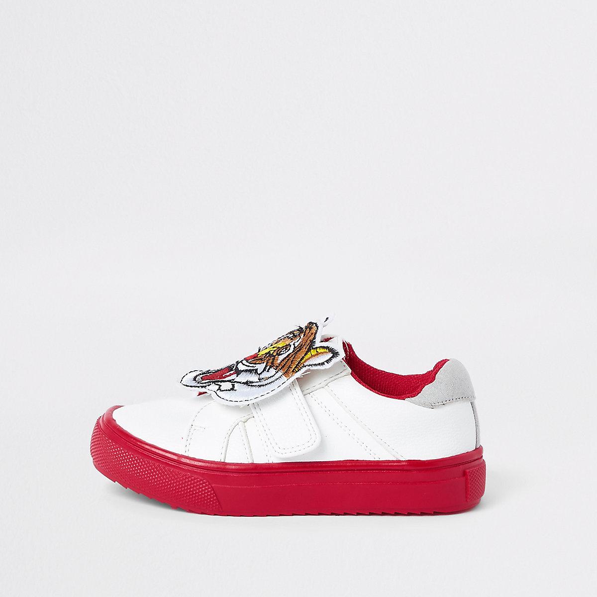 Mini boys white tiger velcro sneakers