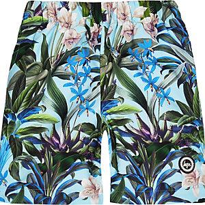 Hype - Blauwe zwemshort met tropische print voor jongens