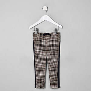 Mini boys brown check tape side pants