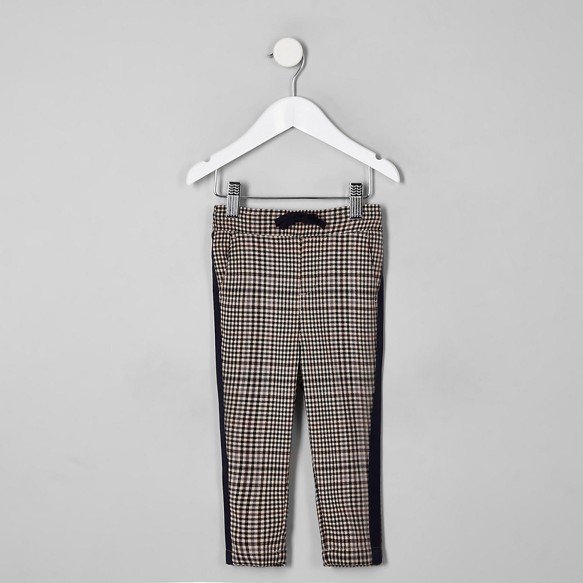 Mini boys brown check tape side trousers