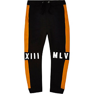 Boys black colour block joggers