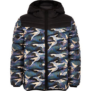 Boys black camo puffer jacket