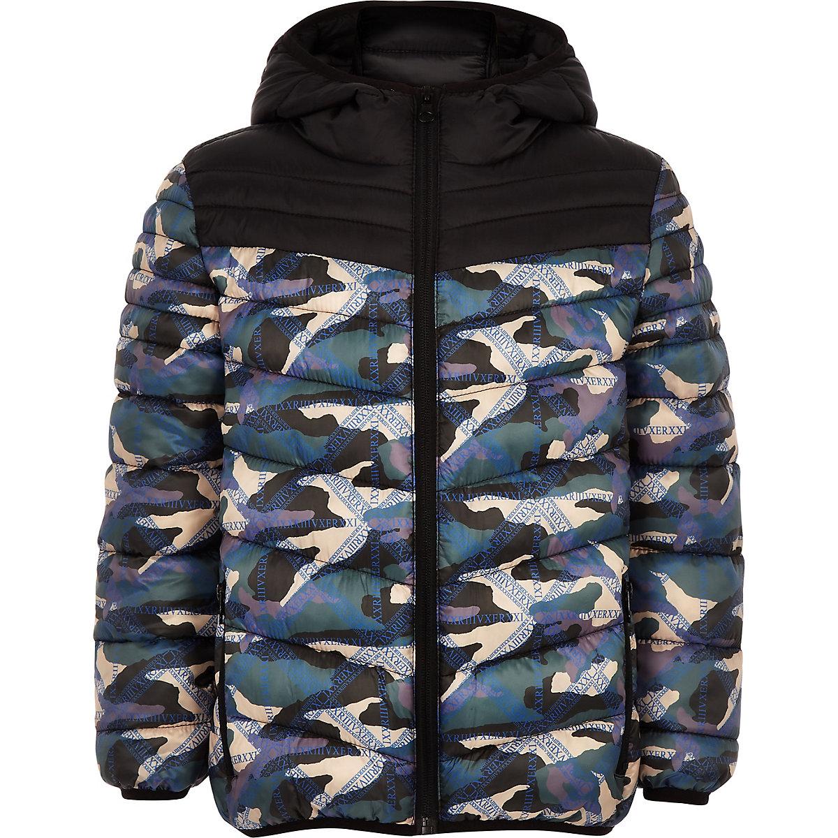 Boys black camo puffer jacket