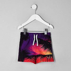 Mini - Zwarte short met palmboomprint voor jongens